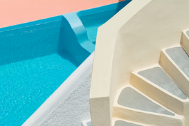 Swimming pool pictures Wall Art as Canvas, Acrylic or Metal Print Stairs and Swimming Pool at Villa, Oia, Santorini, Cyclades Islands, Greece,