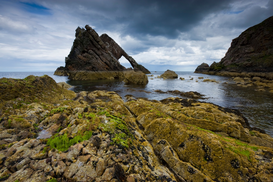 Island pictures Wall Art as Canvas, Acrylic or Metal Print Bow Fiddle Rock, Portknockie, Scotland