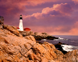 Beach pictures Wall Art as Canvas, Acrylic or Metal Print Leuchtturm Portland Head Light