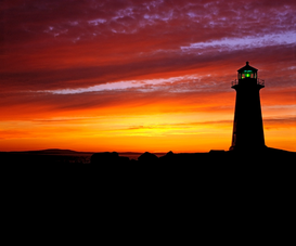 Lighthouse, harbor & fjord pictures Wall Art as Canvas, Acrylic or Metal Print Lighthouse at sunset, Peggy's Cove, va Scotia