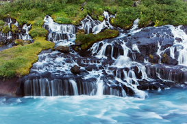 Beach pictures Wall Art as Canvas, Acrylic or Metal Print Hraunfossar waterfall