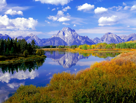 Meren, rivieren & watervallen Foto's bijv. als canvasfoto of wandfoto achter acrylglas: USA, Wyoming, View of Mount Moran from Oxbow Bend, Grand Teton National Park...