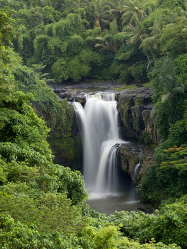 Herfst Foto's bijv. als canvasfoto of wandfoto achter acrylglas: Waterfall flowing into a river, Bali, Indonesia