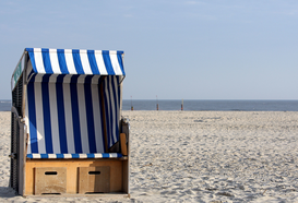 Beach Hut & Wicker Beach Chair Pictures Wall Art as Canvas, Acrylic or Metal Print Norderney