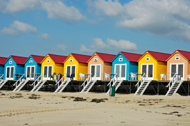 Beach Hut & Wicker Beach Chair Pictures Wall Art as Canvas, Acrylic or Metal Print Strandhaeuser / Vlissingen