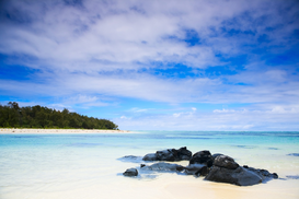 Foto: Eilanden - Tropical paradise, White sand beach, turquoise ocean and blue sky