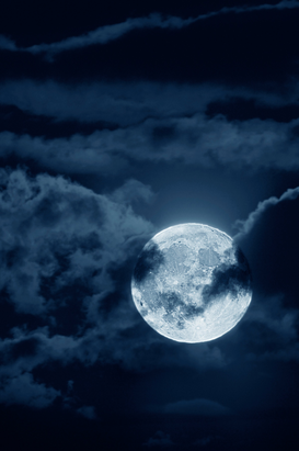 Space & Satellite images Wall Art as Canvas, Acrylic or Metal Print Full moon with clouds at night