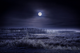 Space pictures Wall Art as Canvas, Acrylic or Metal Print Evening winter scene